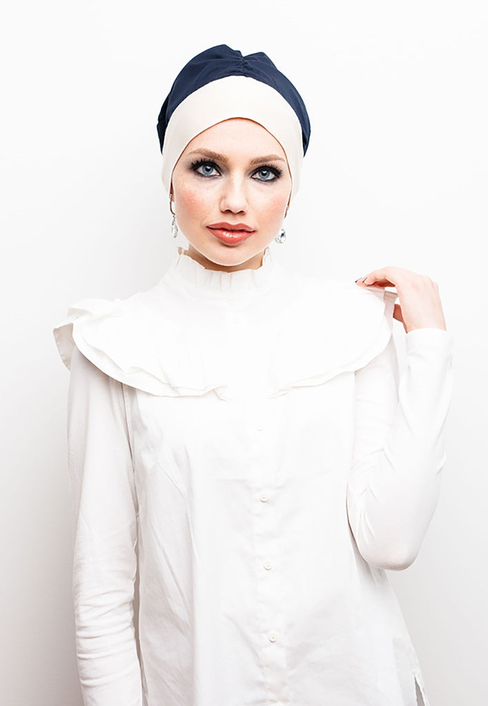Instant - Turban - Zarah Stylish - Royal Blue & Sand - Helen Latifi