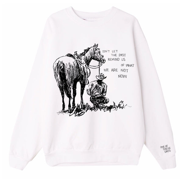 """Past Remind Us"" Crewneck Sweatshirt - White"