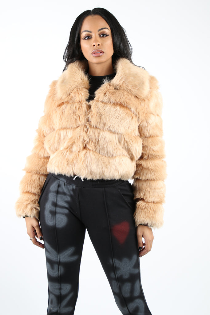 Queen Faux Fur Coat - Tan (Pre-Order: Ships Dec. 9)