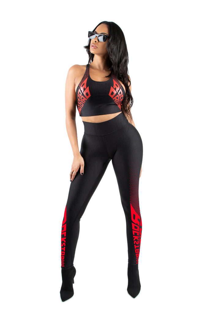 Adriana 3 Pc. Legging Set -Red/BLK (Pre-Order: Ships Dec. 9)