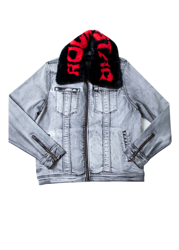 FABE Light Grey Jacket  (Blk/Red)