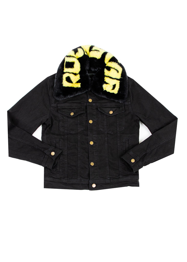 FABE Black Jacket (Black/Yellow Fur)