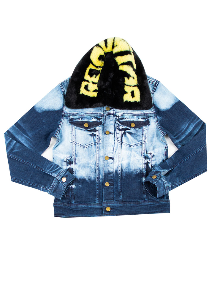 FABE Blue Jacket (Black/Yellow Fur)