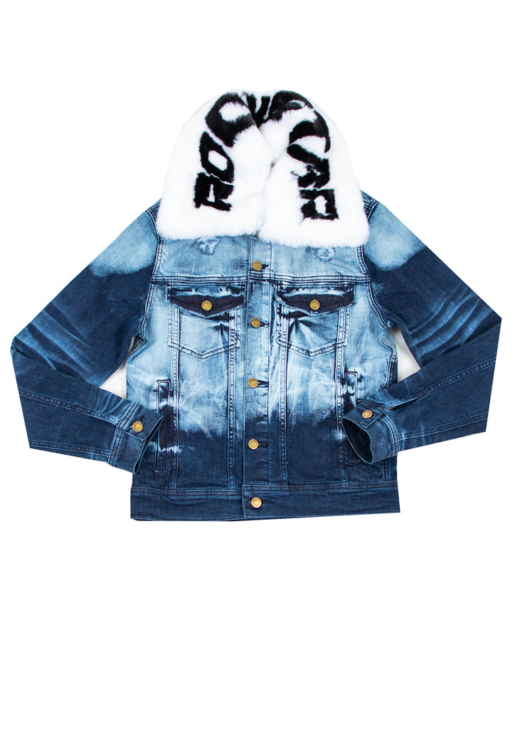 FABE Blue Jacket (White/Black Fur)