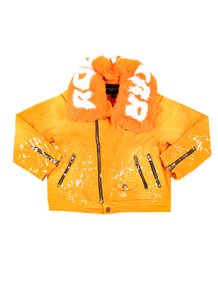 Kids Fabe (Orange) Biker Jacket