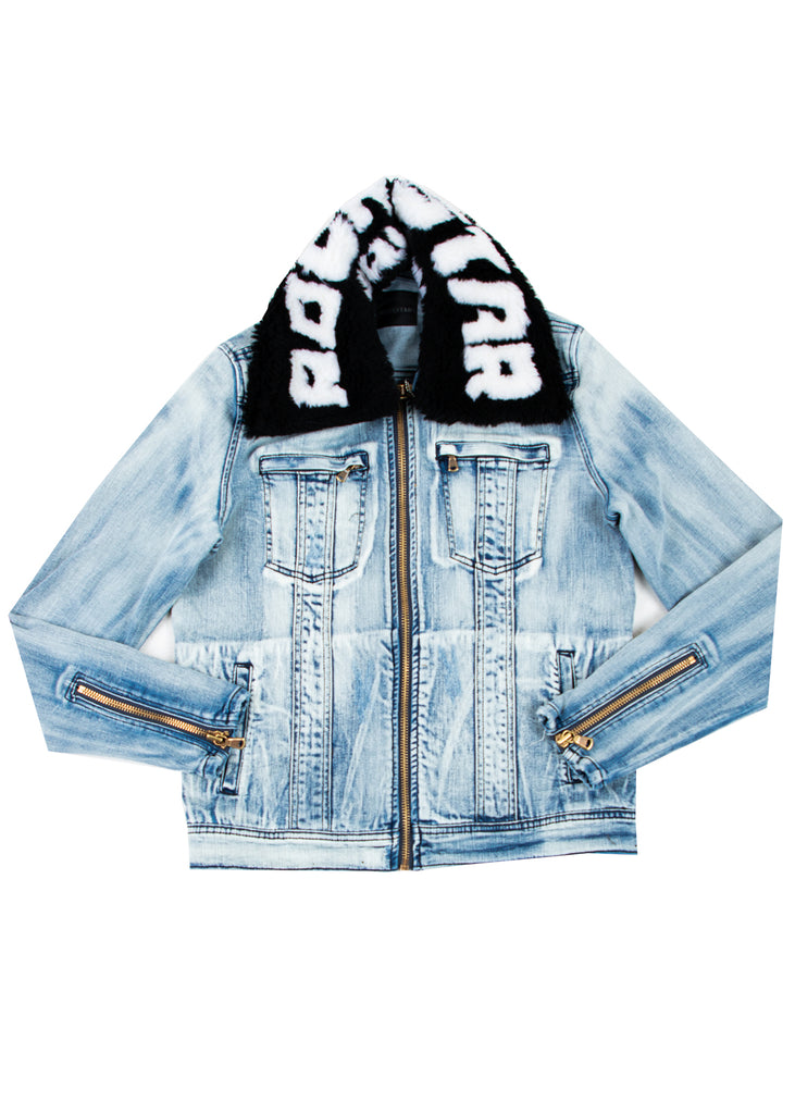 FABE Blue Jacket (Black/White Fur) W/ Zipper