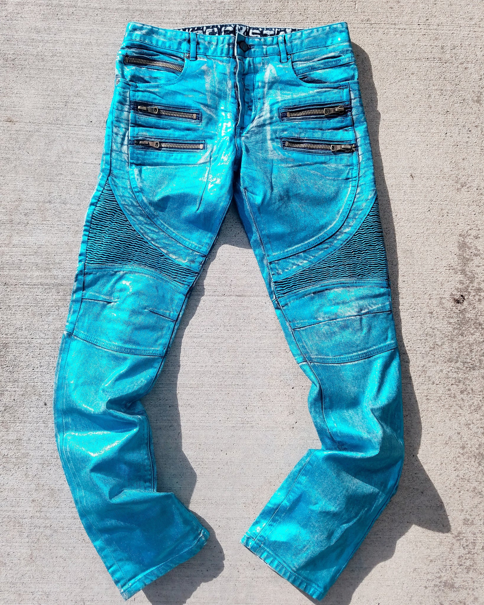 Teal Santino Biker Denim