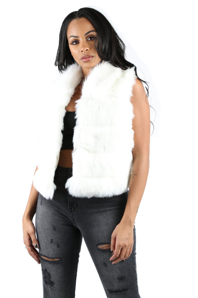Riley Faux Fur Vest - White