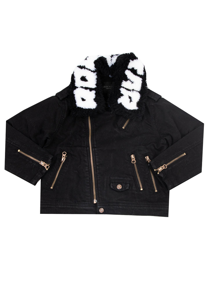 Kids Fabe (Black/White) Biker Jacket