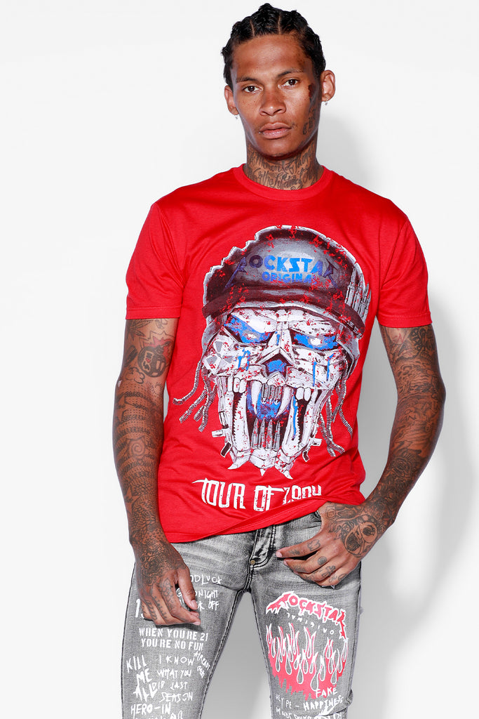 Skull Soldier T Shirt (Red)