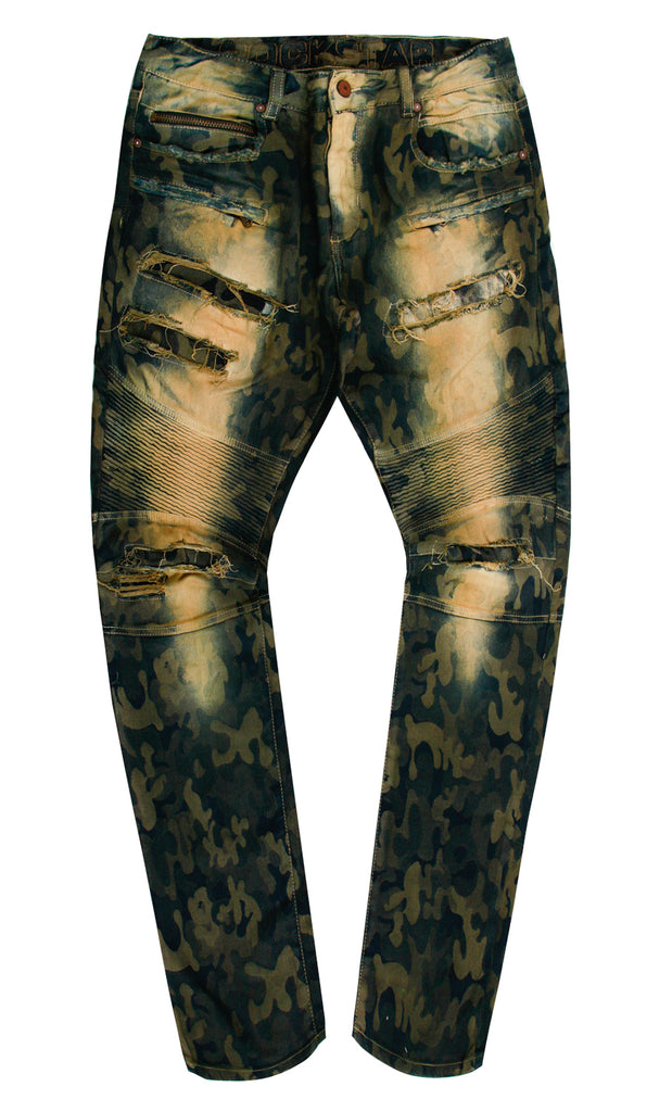 CAMO DISTRESSED JEANS - GREEN
