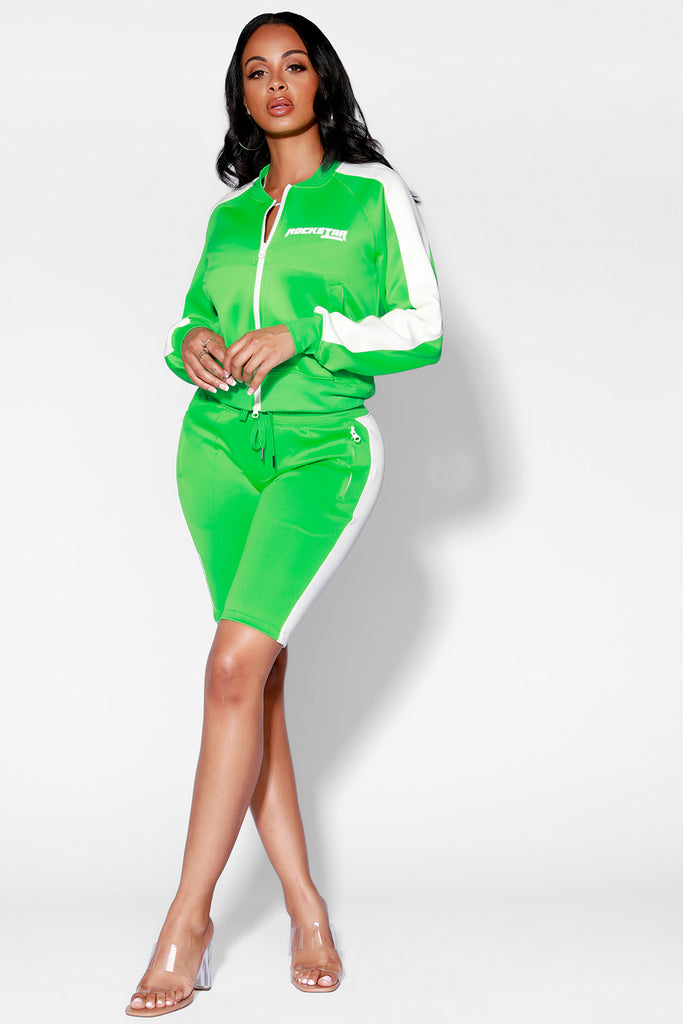 VICKI SHORT SET - LIME/WHT