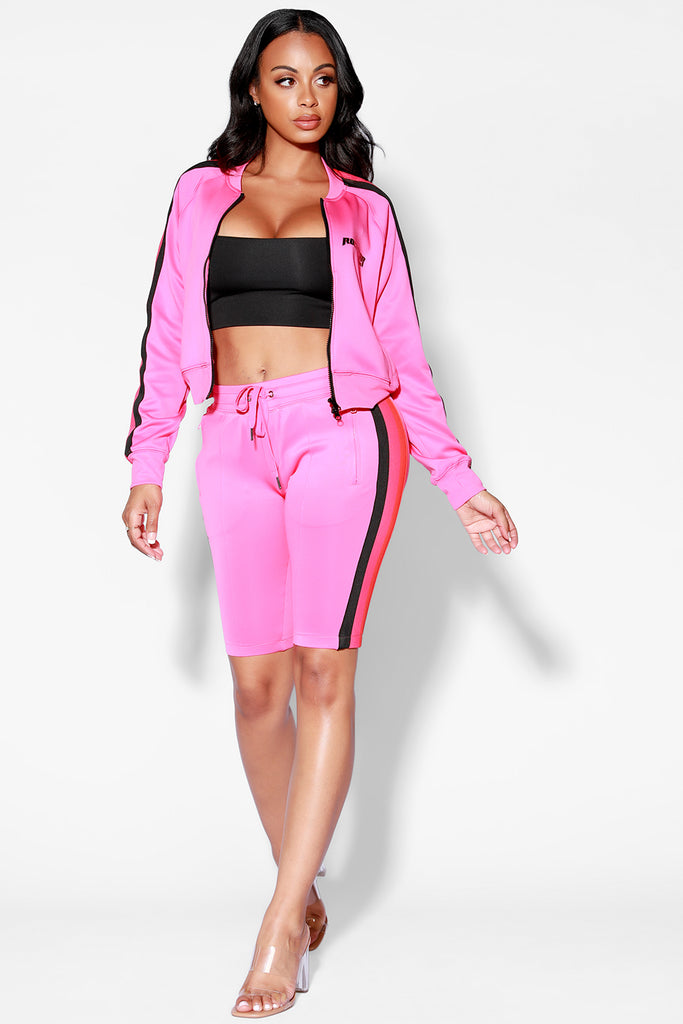 VICKI SHORT SET - PINK/BLK