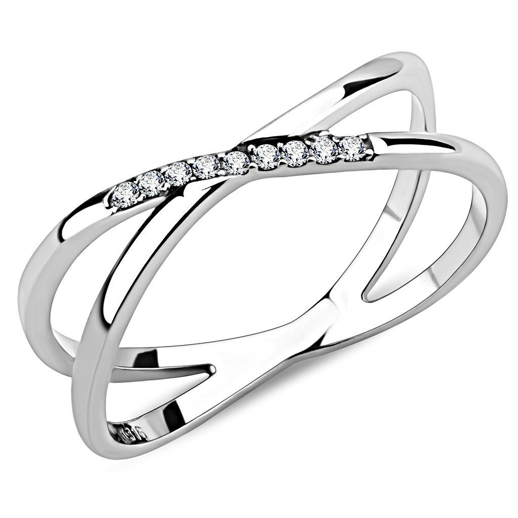 Women AAA Grade CZ Clear Stainless Steel Ring High polished no plating