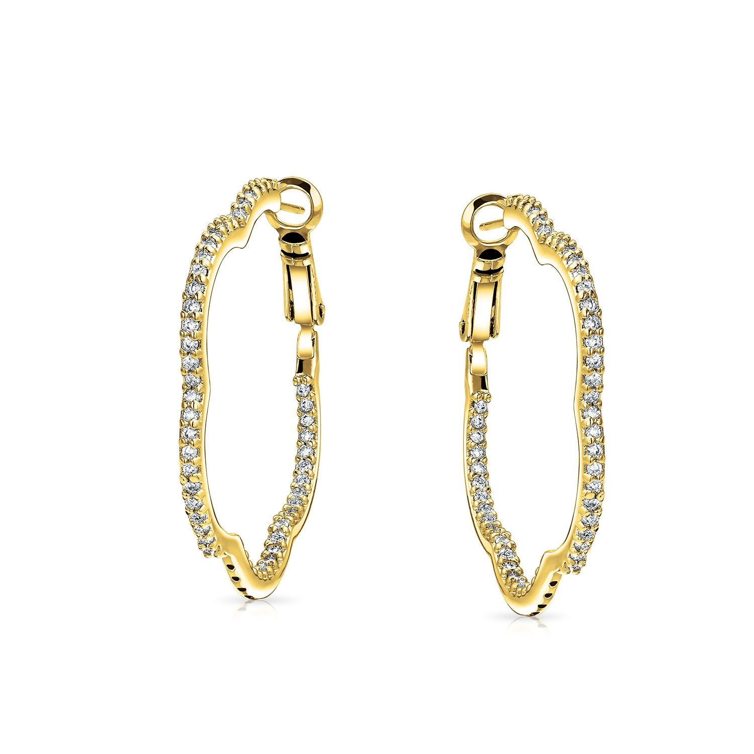 Flower Clover Shaped Pave CZ Cubic Zirconia Large Hoop Earrings For Women 14K Gold Silver Plated Brass 1.6 Inch Dia