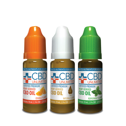 3 Pack Saver - Hemp Oil - 10 ml - 250 mg CBD/unit - Natural-Orange-Peppermint