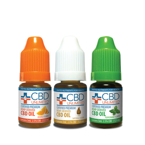 3 Pack Saver - Hemp Oil - 5 ml - 125 mg CBD/unit - Natural-Orange-Peppermint
