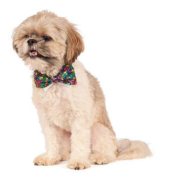 Rainbow Sequin Pet / Dog Bow Tie (L/XL)