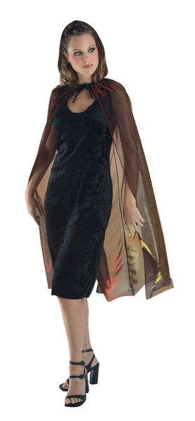 "Adult 42"" Red-Gold Iridescent Hooded Cape"