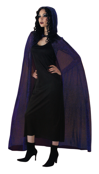 "Adult 72"" Purple Sparkle Hooded Cape"