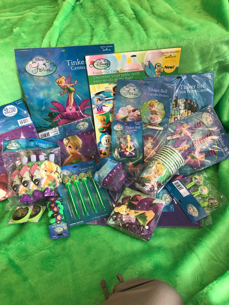 Tinkerbell Party for 8 w/costume for the birthday girl included (size 3T-4T)