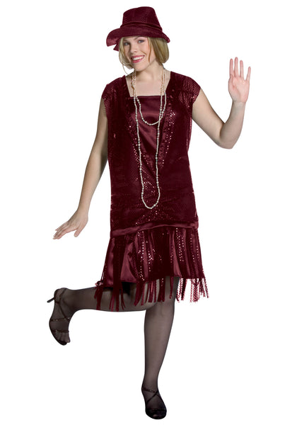 Gatsby Girl- Burgundy Flapper Costume
