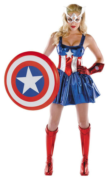Adult Female Sassy Captain America Costume