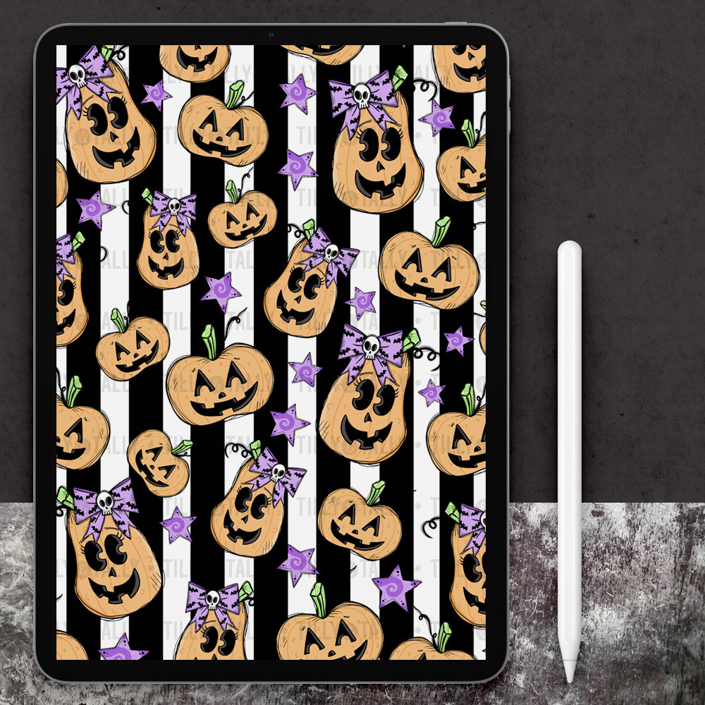 Pastel Pumpkin Black Stripe Paper