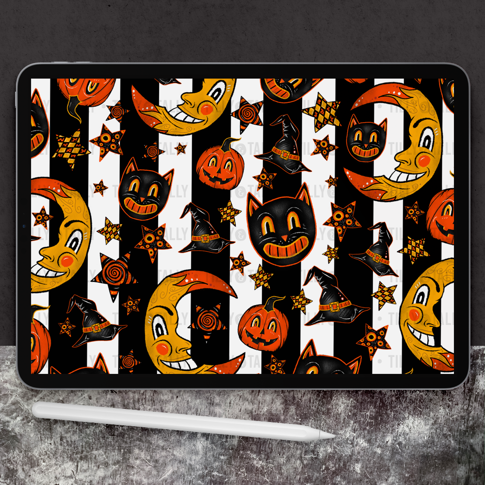 Vintage Halloween Striped Paper
