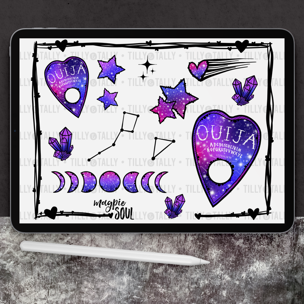 Galaxy Ouija Sticker Sheet