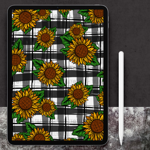Sunflower Leaves Plaid Paper