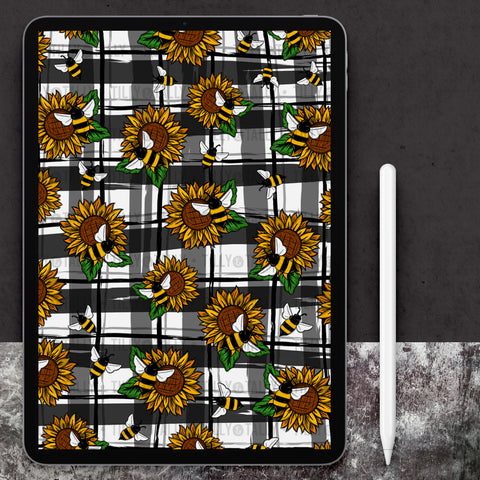 Sunflower Bee Plaid Paper