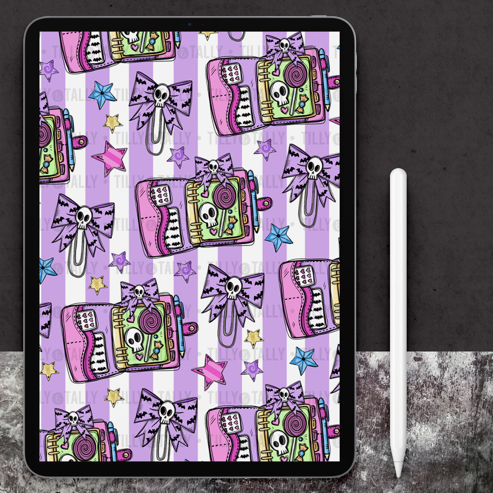 Pastel Planner Lilac Stripe Paper