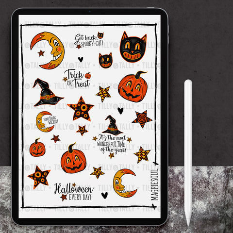 Vintage Halloween Sticker Sheet