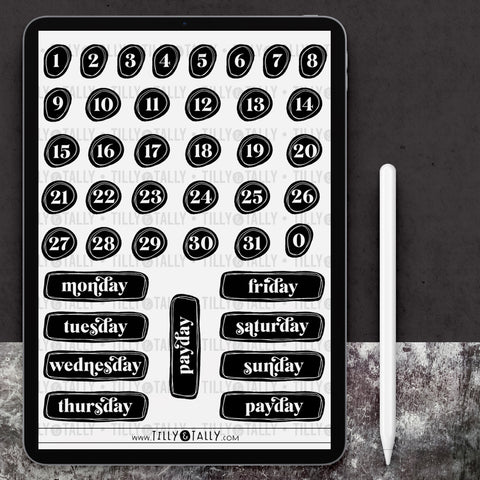 B&W Numbers and Weekdays Sticker Sheet