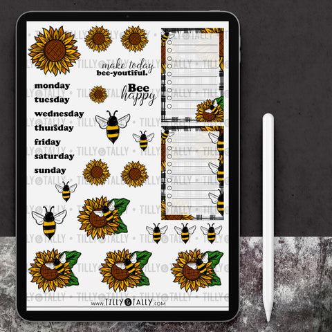 Sunflower Bees Sticker Sheet