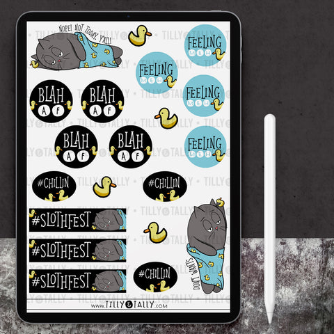 Cattitude Slothfest Sticker Sheet