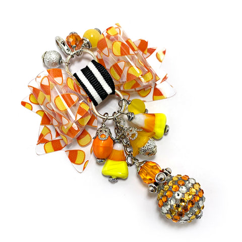 Candy Corn Glam Bow Charm