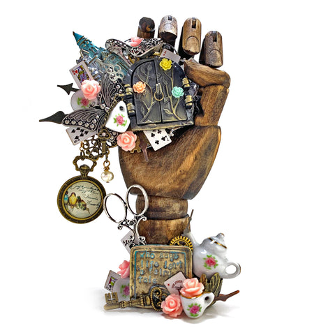 Fairytale Tea Party Altered Hand Statue