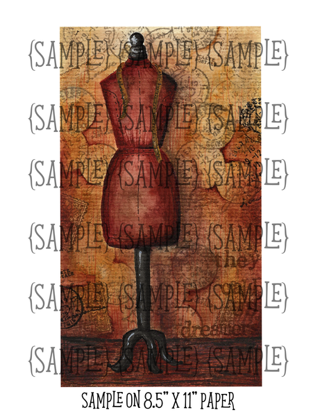 Dress Form Watercolor Painting