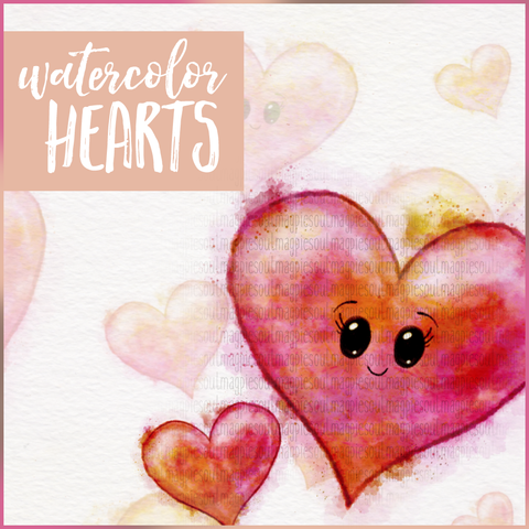 WATERCOLOR HEARTS PRINTABLES