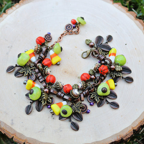 candy corn jewelry charm bracelet autumn fall