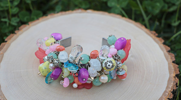 spring summer jewelry flower cuff bracelet