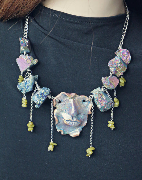 clay druzy necklace