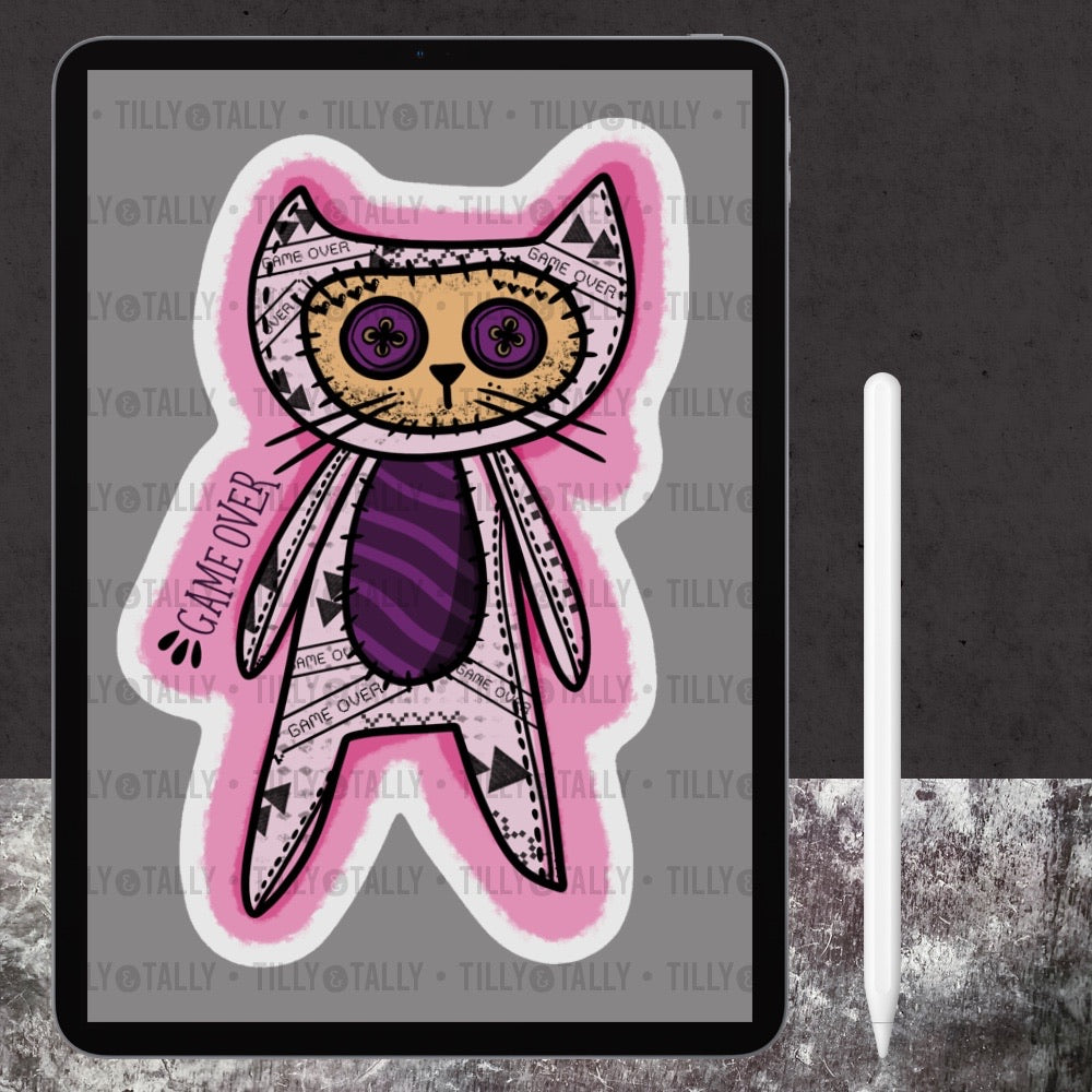 Game Over Kitty Die Cut