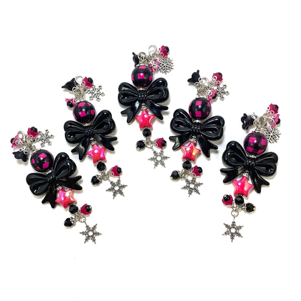 Pink Plaid & Black Bow Charm Clip