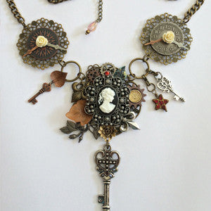 steampunk jewelry steampunk necklace clock jewelry victorian necklace assemblage jewelry