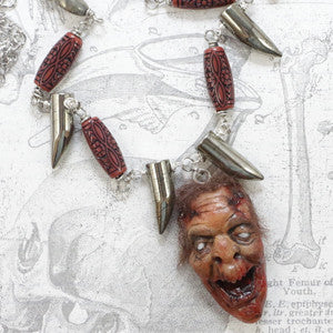 zombie jewelry zombie necklace clay zombie magpiesoul magpie soul