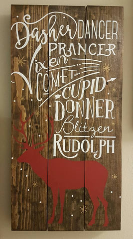 "'Reindeer Names' Sign | 12""x24"""