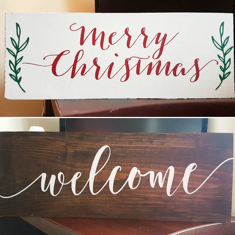 "Double-Sided 'Welcome' & 'Merry Christmas' Sign | 6""x16"""